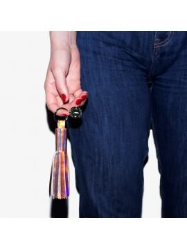 Porte-clés pompon irisé