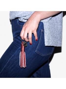 Porte-clés pompon rouge