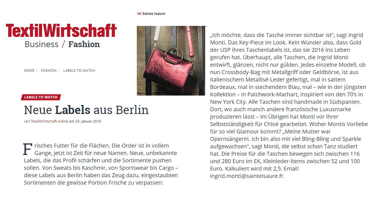 January 2018 : TextilWirtschaft Magazine – Sainte Isaure is one of the new brands introduced in Berlin not to miss