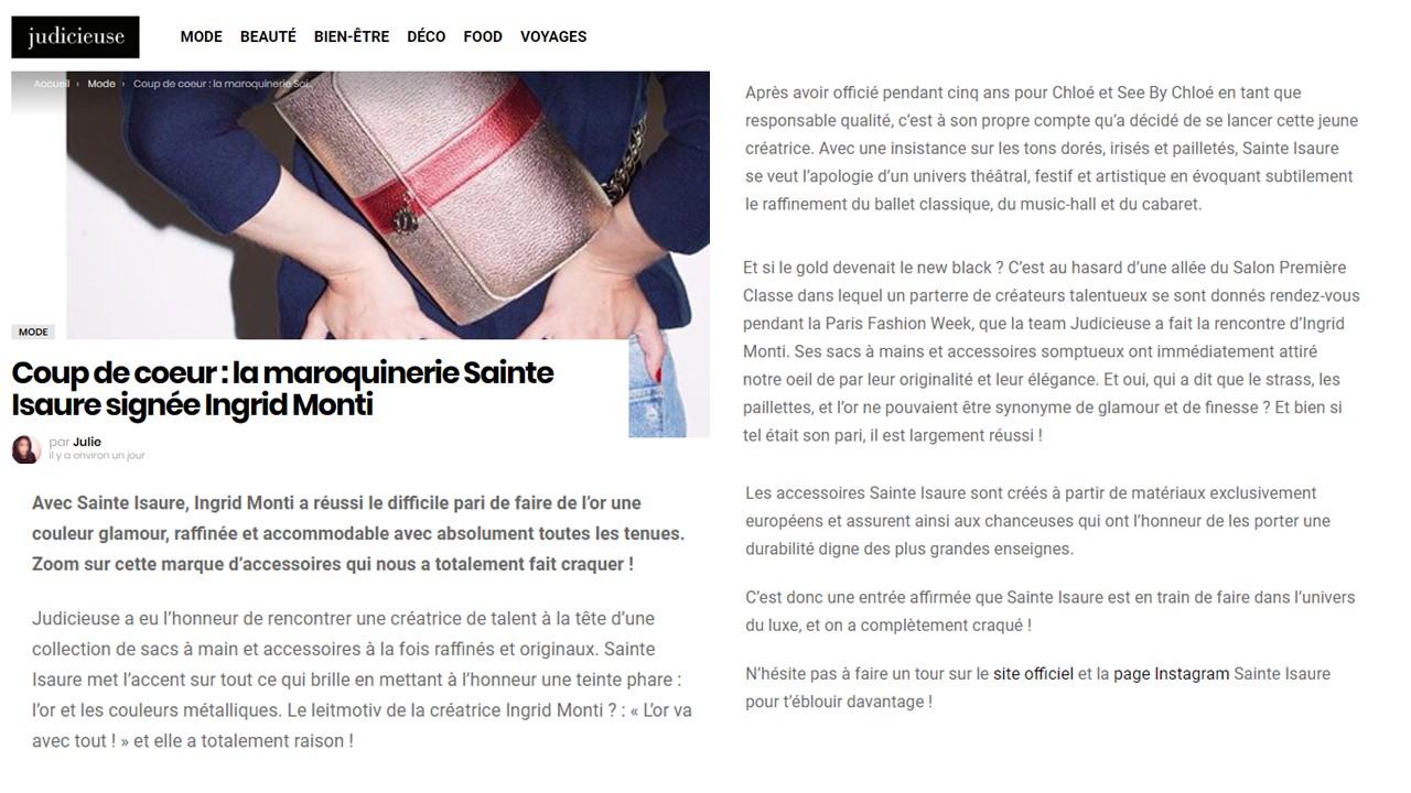 March 2018 : Judicieuse.fr – Having a crush on Sainte Isaure